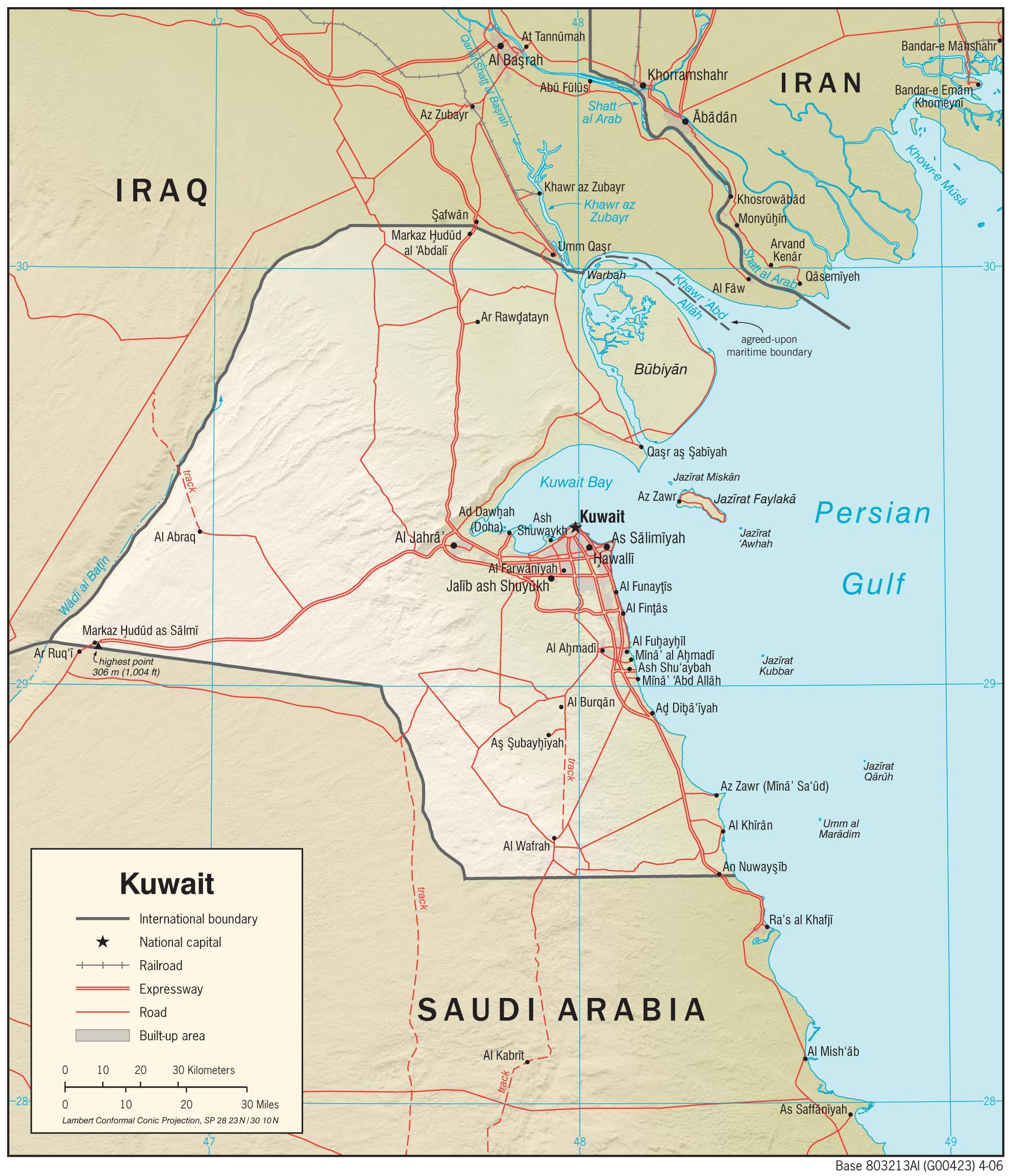 Kort Over Kuwait Kuwait Kort Placering I Den Vestlige Del Af