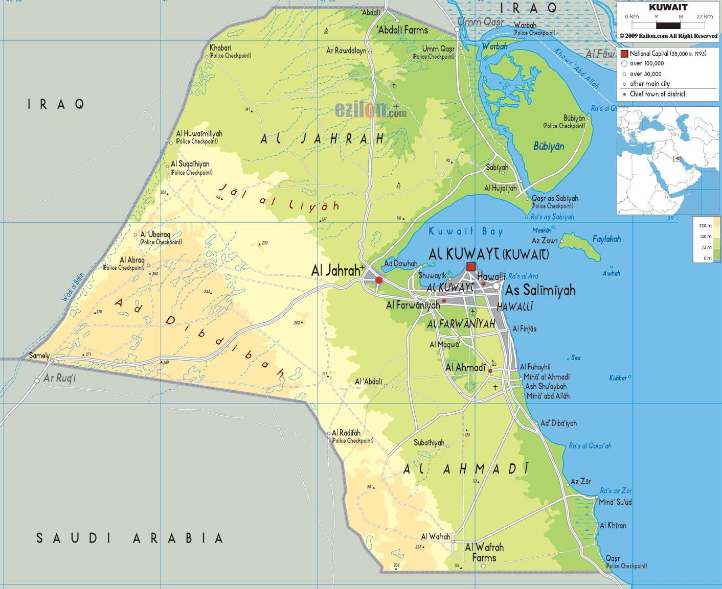 Kuwait Kommune Kort Kort Over Kuwait Kommune Vestlige Asien
