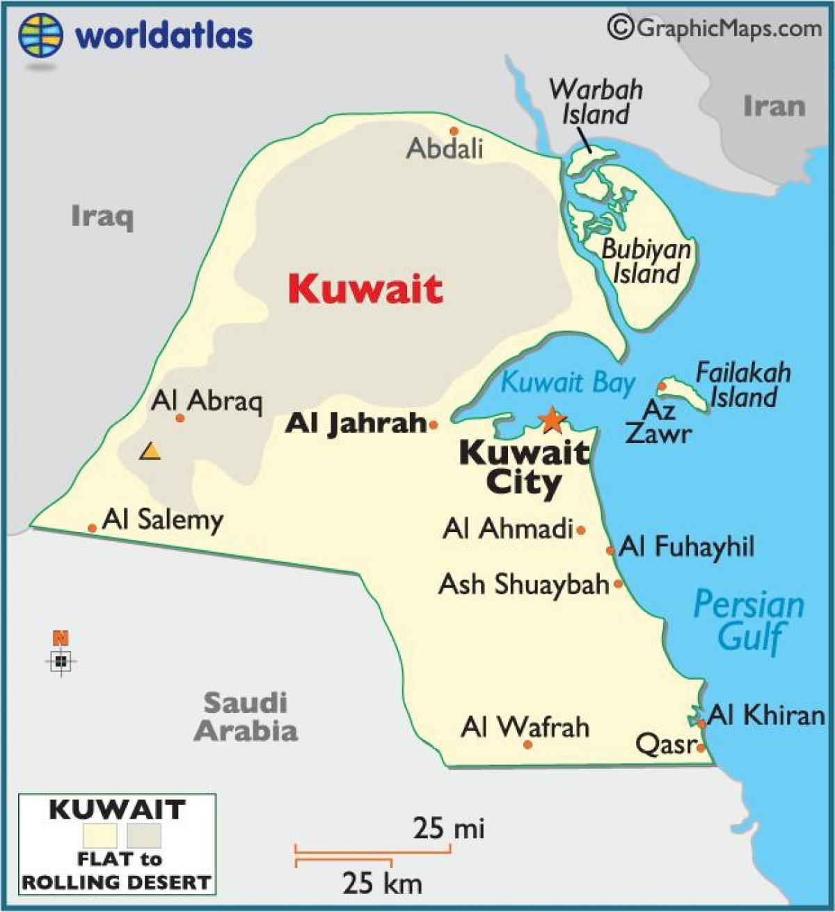 Kuwait Kort Kuwait Fuld Kort Det Vestlige Asien Asien